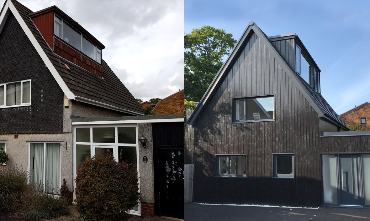 Before and After photos of the front of the House at the Paddock